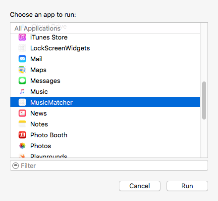 Select the app to run with the extension